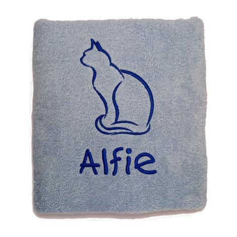 Personalised Cat Towel –  Pale Blue
