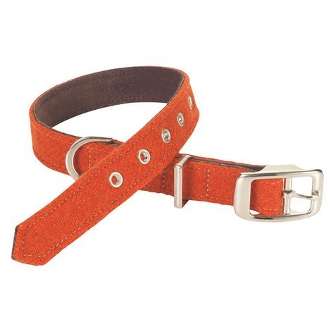 Edison Orange Harris Tweed Dog Collar
