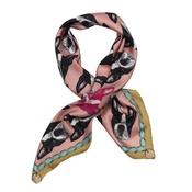 Lisa Bliss - Boston Terrier Print Silk Scarf - Pink & Rich Olive
