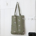 Dogs Linen Tote Bag - Green 2