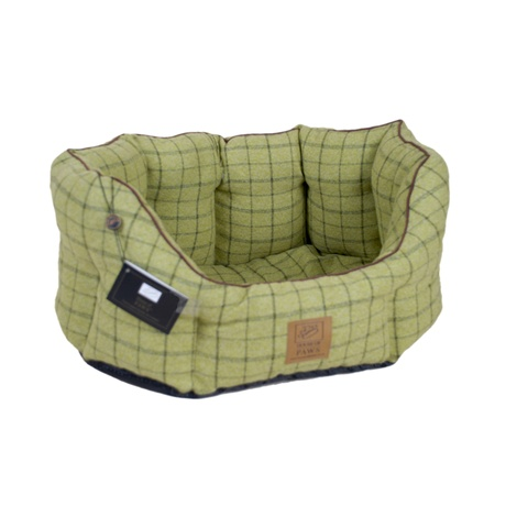Tweed Oval Snuggle Dog Bed – Green 2