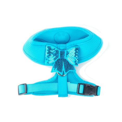 Blue Sequined Bow Dog Harness