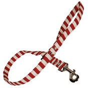 Creature Clothes - Red & White Stripe Fabric Dog Lead