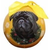 NFP - Black Pug Christmas Bauble