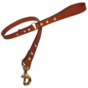 Creature Clothes - Tan Brass Stars Classic Leather Dog Lead