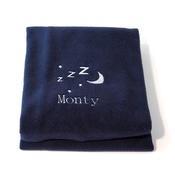 PetsPyjamas - Personalised Navy Snooze Pet Blanket - Italic font