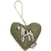 Mutts & Hounds - Dogs Linen Lavender Heart Green - Fox Terrier