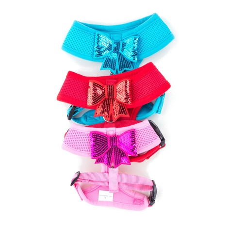 Blue Sequined Bow Dog Harness 2