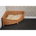 Luxury Wicker Dog Corner Basket with Dark Cushion 4