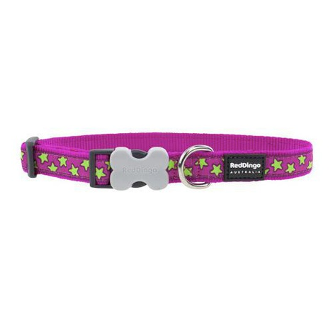 Red Dingo Patterned Dog Collar - Hot Pink/Lime Green