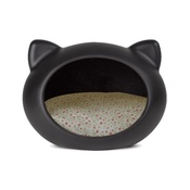 GuisaPet - Black Cat Cave with Floral Cushion