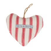 Mutts & Hounds - Organic Ticking Cranberry Linen Lavender Heart