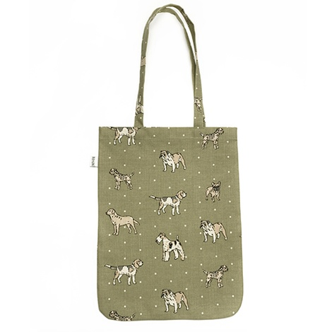 Dogs Linen Tote Bag - Green