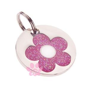 K9 Small Glitter Pink Daisy Cat ID Tag