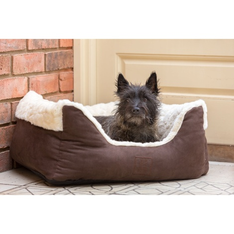 Cream Faux Fur & Suede Square Snuggle Dog Bed 2