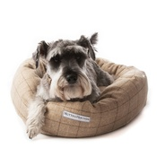 Mutts & Hounds - Oatmeal Check Tweed Donut Bed