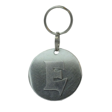Alphabet Dog ID Tag - Plain silver on plain silver