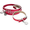 Saffiano Leather Dog Collar & Lead Set - Fuschia Pink