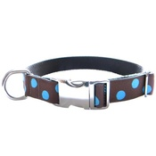 CanineAllStars - Blue Dots on Chocolate Brown Dog Collar