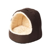 House of Paws - Cream Faux Fur & Suede Hooded Cat Bed