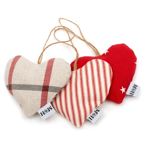 Red Ticking Stripe Lavender Heart
