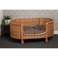 Luxury Wicker Oval Pet Bed Settee with Dark Cushion 3