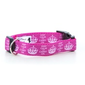 "Pet Pooch Boutique - Keep Calm Dog Collar 1"" Width"