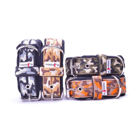 4cm width Fleece Comfort Dog Collar - Orange Camo 2