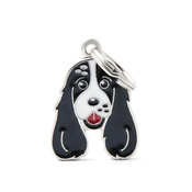 My Family - Cocker Spaniel Engraved ID Tag – White & Black