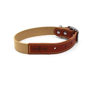 Tan Brown Cotton Webbing Dog Collar