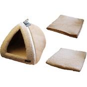 Hem & Boo - Sand & Cream Pyramid Cat Bed