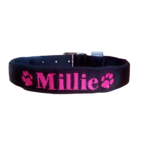 Personalised Embroidered Dog Collar – Black
