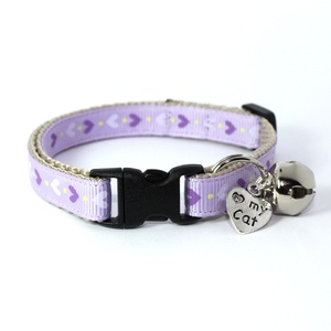 Lilac Heart Print Safety Cat Collar