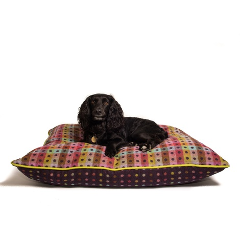 Luxury Pure Wool Dog Bed - Mulberry Multispot 2