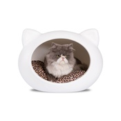 GuisaPet - White Cat Cave with Animal Print Cushion