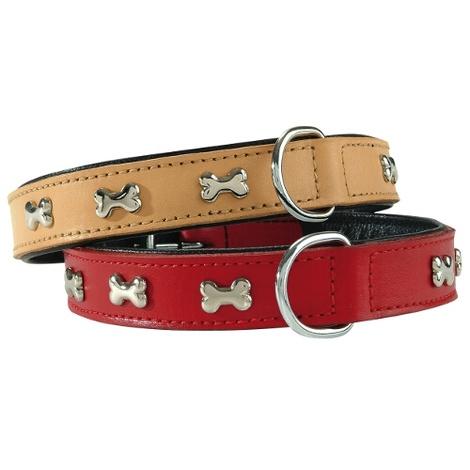 Bone Rivet Dog Collar - Red