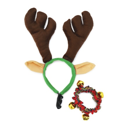 Doggy Things Antlers and Plaid Christmas Collar