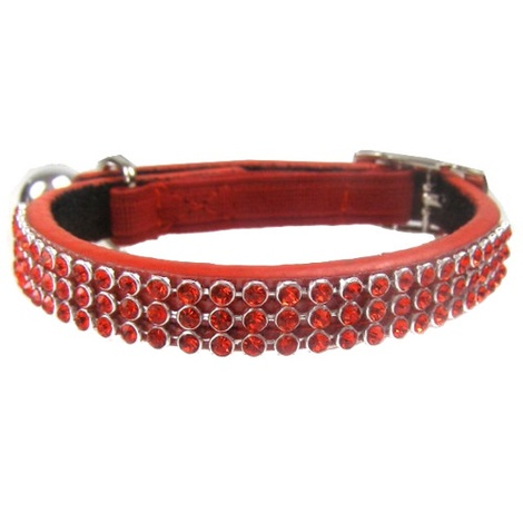 Jewel Cat Leather Collar - Red