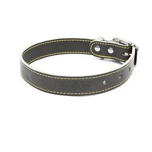 Grey Leather Dog Collar