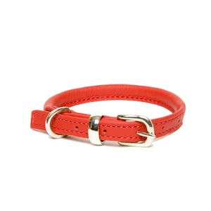 D&H Rolled Leather Collar - Red