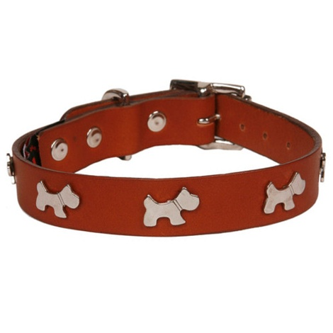 Classic Leather Dog Collar - Tan with Dogs 2