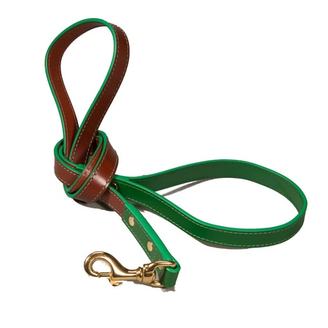 Pimlico Leather Dog Lead – Tan & Green