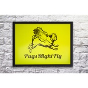 Pugs Might Fly - Handmade Poster - Yellow