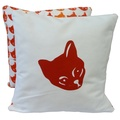 Cat Cushion Tricolour & Mustard - Red Print