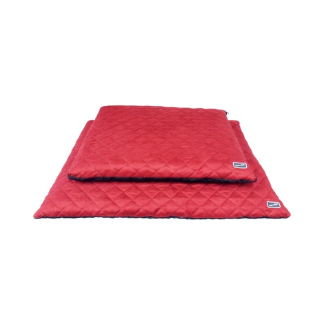 Quilted Flat Dog Bed - Brick Red & Brown