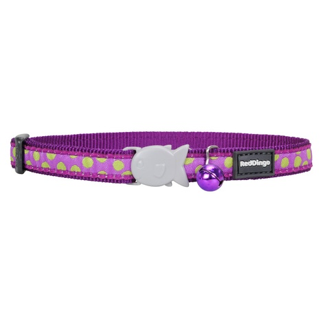 Green Spots on Purple Cat Collar