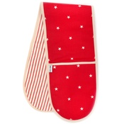 Mutts & Hounds - Cranberry Star Cotton with Red Ticking Stripe Oven Glo