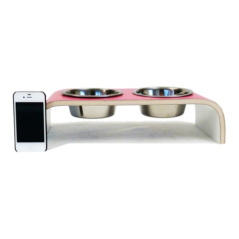 Pink & White Designer Pet Feeder 4