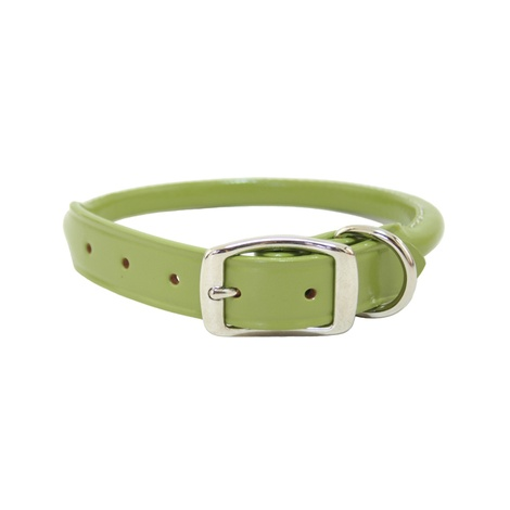 Rolled Leather Dog Collar – Green