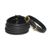 Pear Tannery - Lined & Padded Leather Dog Collar - Black